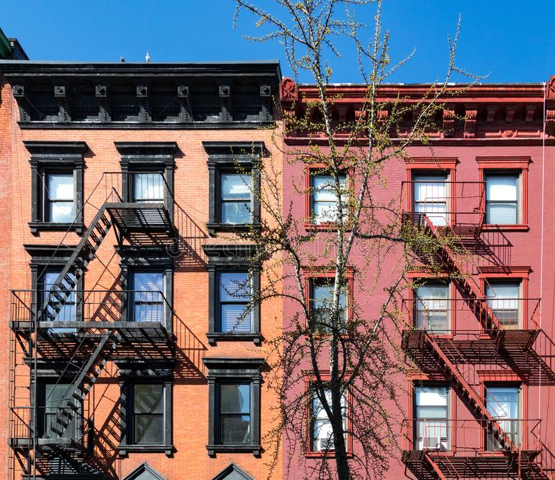 New Construction Apartment Building: Old Brownstone Apartment Building In Manhattan, New York