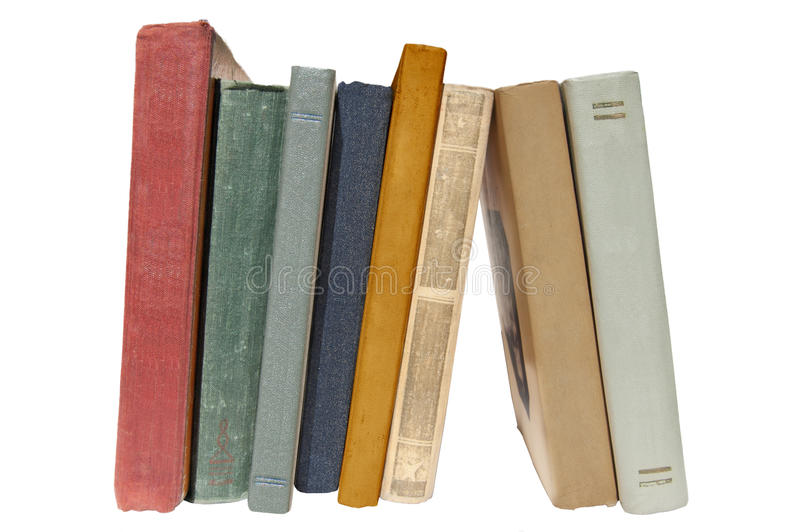Colorful old books isolated. stock photo