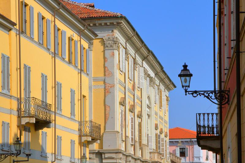 Colorful old buildings in Vercelli in italy stock images