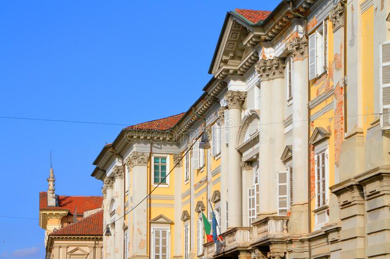 Colorful old buildings in Vercelli in italy. In europe stock photography