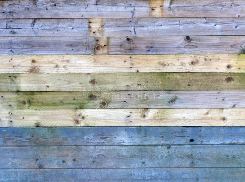 Colorful old rustic wooden plank wall or floor with some of the boards stained blue made of reused timber stock photos
