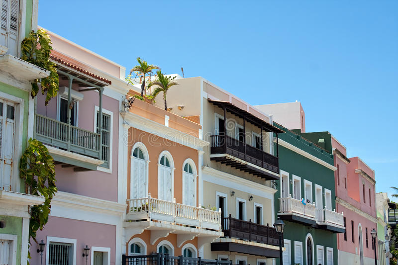 Colorful Old San Juan PR. A row of colorful pastel painted buildings in Old San Juan Puerto Rico stock photo