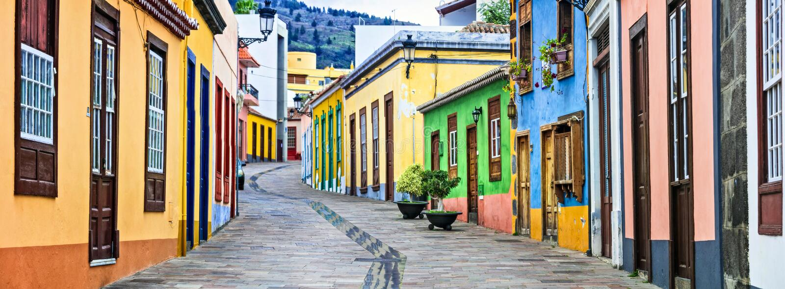 Colorful old streets of Los llanos de Aridane. traditional architecture of Canary islands. La Palma stock image
