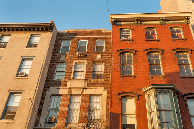 Colorful old townhouses stock photo