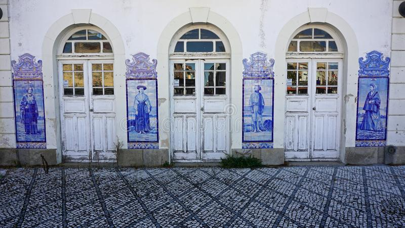 Colorful old train station of aveiro in portugal. Old and colorful train station of aveiro in portugal royalty free stock images