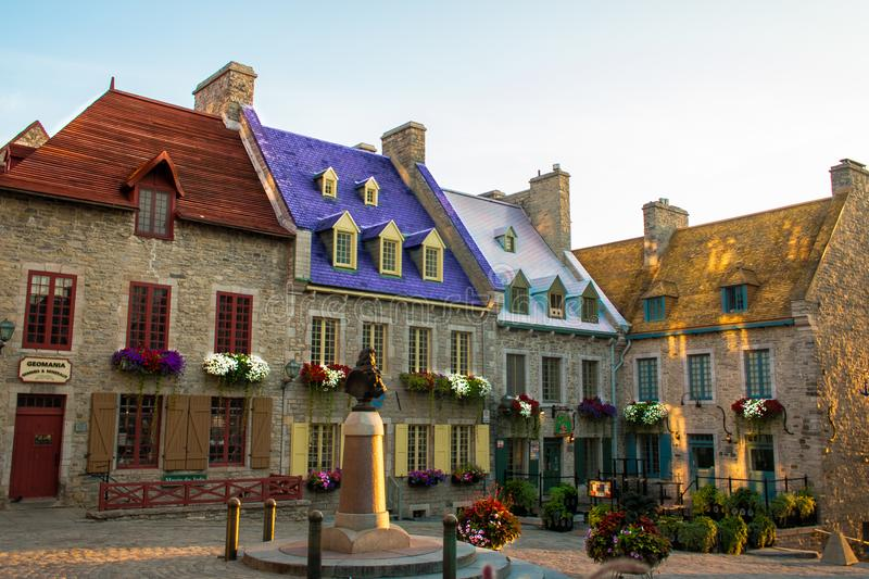 Colorful old vintage french Quebec royalty free stock photography