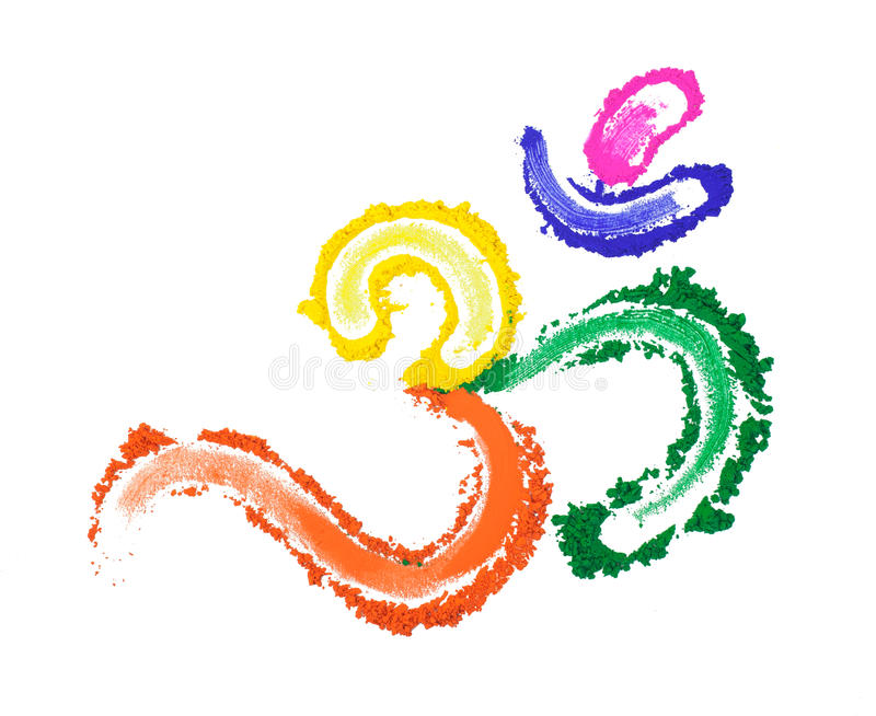 Color Om Symbol. Aum - Om symbol painted with vibrant colors royalty free illustration