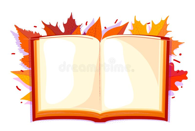 Colorful open book in fall leaves on white background. Autumn template, Empty space with Decoration element. White background. Colorful open book in fall leaves royalty free illustration