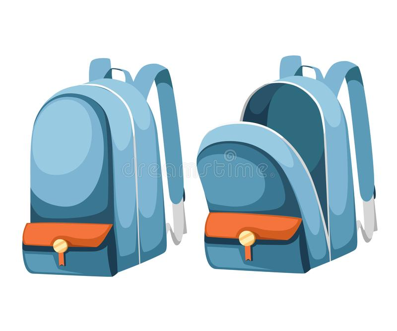 Colorful opened and closed school bags. Empty rucksack. Backpack with zippers. Cartoon design. Flat  illustration isolated stock illustration