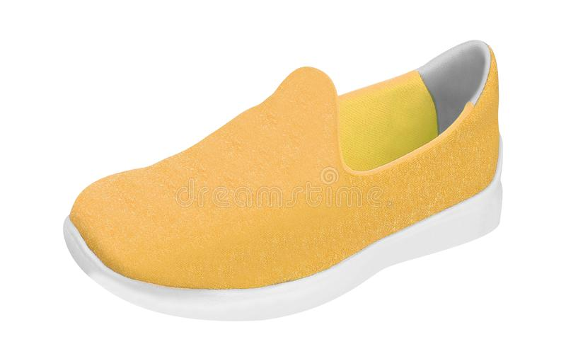 Colorful orange running and fashion sneaker shoe. On white background stock photos