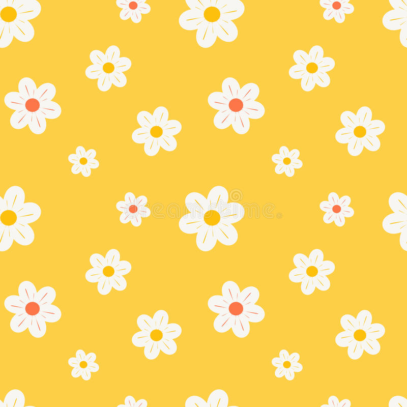 Colorful orange white and yellow daisy flowers seamless pattern background illustration. Colorful orange white and yellow daisy flowers seamless vector pattern vector illustration