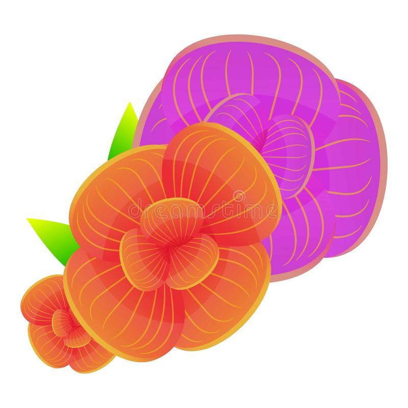 Colorful orchid bouquet icon, cartoon style. Colorful orchid bouquet icon. Cartoon of colorful orchid bouquet vector icon for web design isolated on white stock illustration