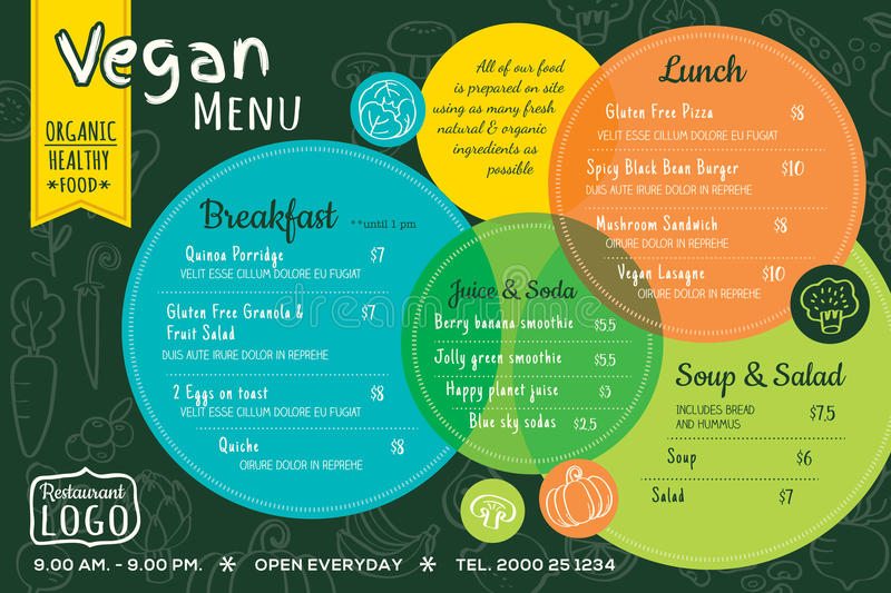 Colorful organic food vegan restaurant menu board or place mat template stock illustration