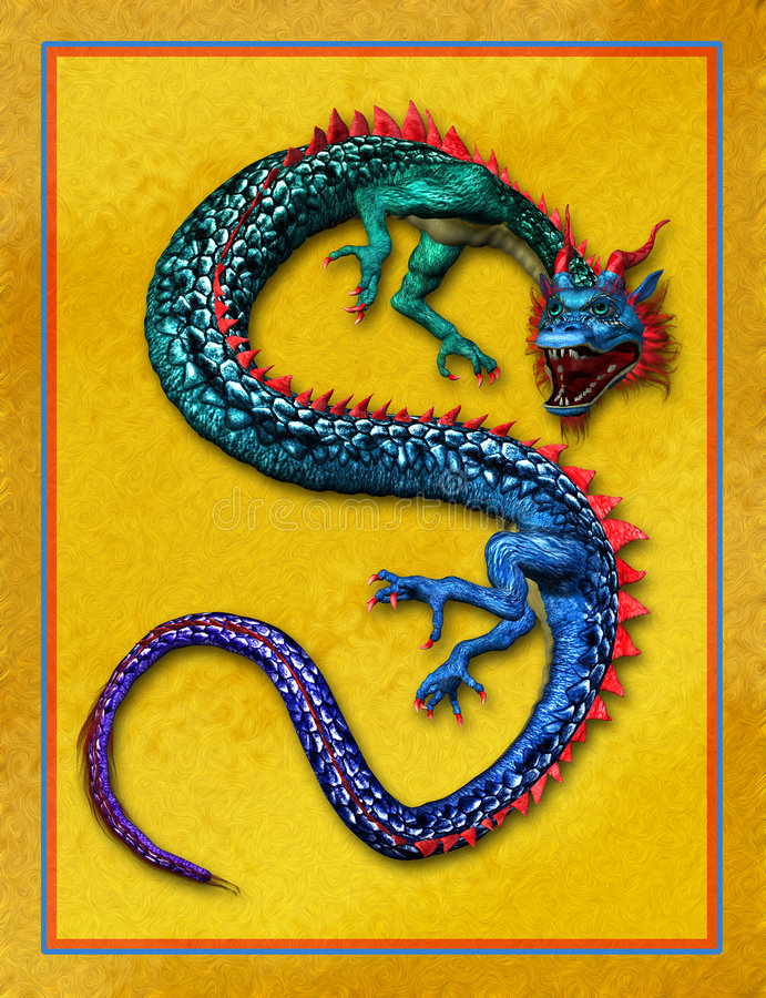 Colorful Oriental Dragon with Gold Background stock image