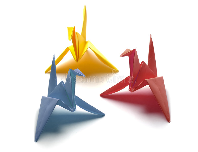 Colorful Origami Birds stock photo