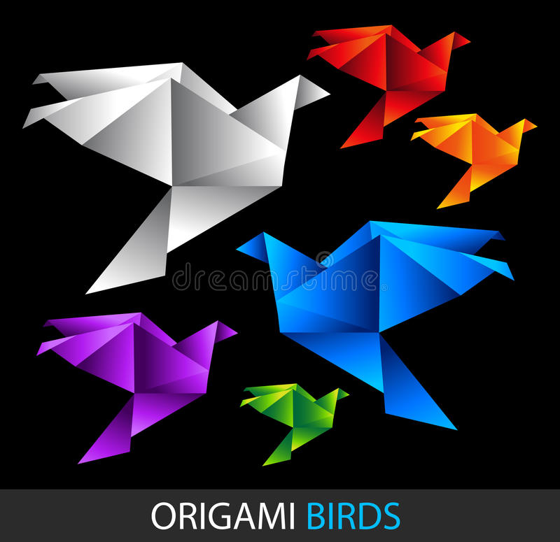 Colorful origami birds. Isolated on black vector background royalty free illustration