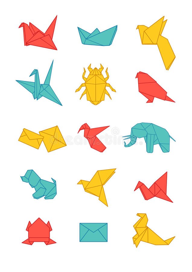 Download Colorful Origami Icons Pack Stock Vector - Image: 37999222