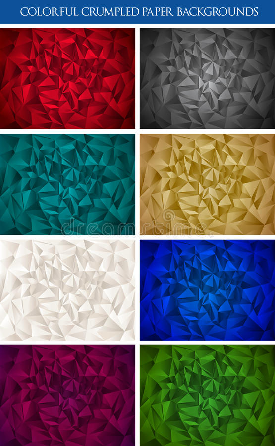 Colorful origami paper set. Colorful origami wrinkled paper backgrounds vector set stock illustration