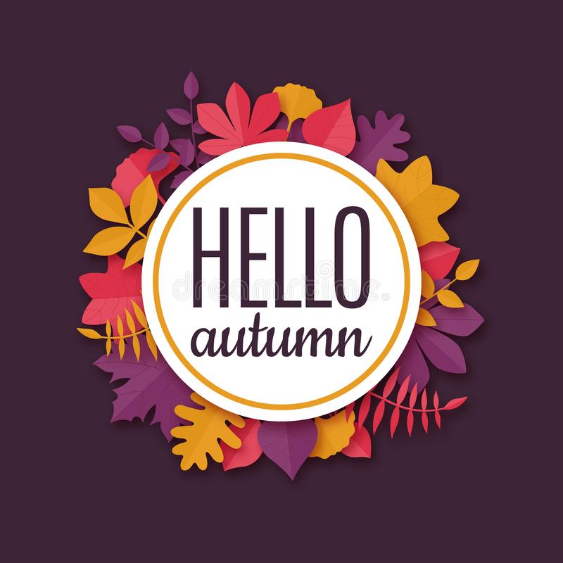 Colorful origami seasonal banner with text Hello autumn. stock illustration