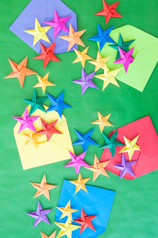 Colorful origami stars stock image