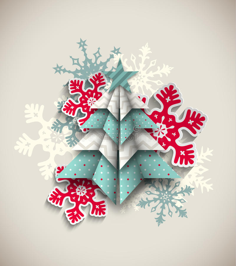 Free Colorful Origami Tree With Snowflakes, Abstract Stock Photo - 60992120