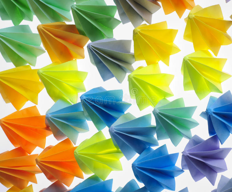 Colorful origami units stock photography
