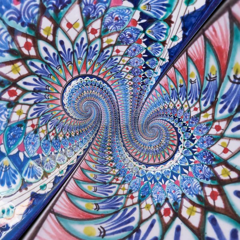 Colorful ornament eastern painting double spiral effect abstract fractal pattern background. Geometrical floral spiral abstract. Fractal background Blue white royalty free stock images