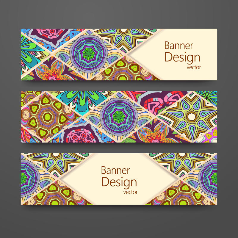 Colorful ornamental ethnic banner set royalty free illustration