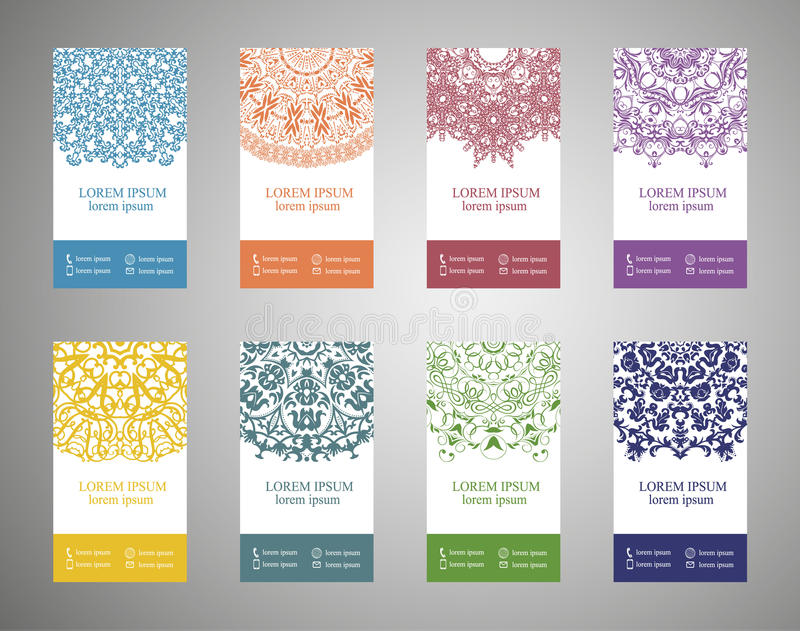 Colorful ornamental ethnic banner set. Templates with doodle tribal mandalas royalty free illustration