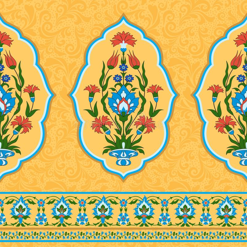 Colorful ornamental pattern in eastern style stock illustration