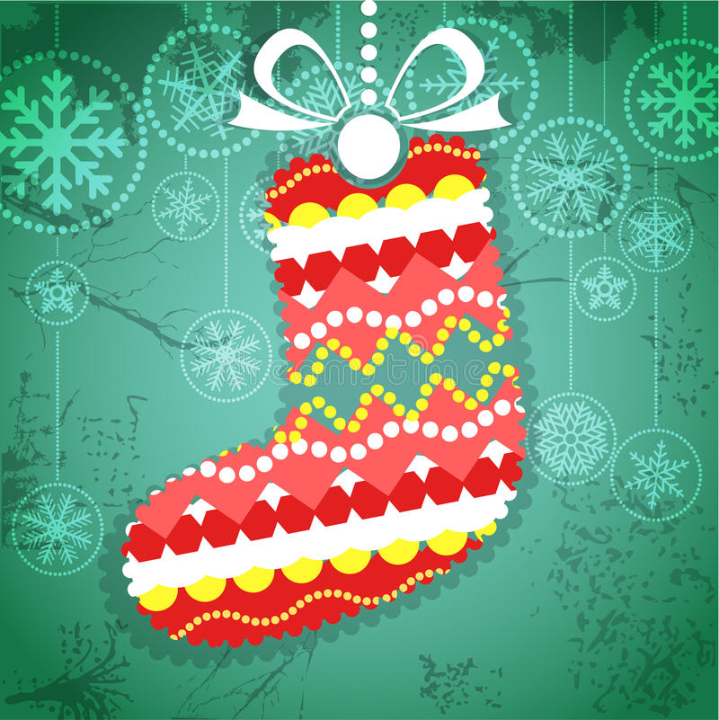 Colorful ornamented Christmas stocking vector illustration