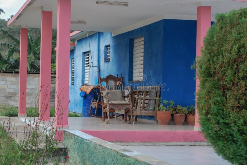 Colorful Outdoor Patio in Cuba royalty free stock photos