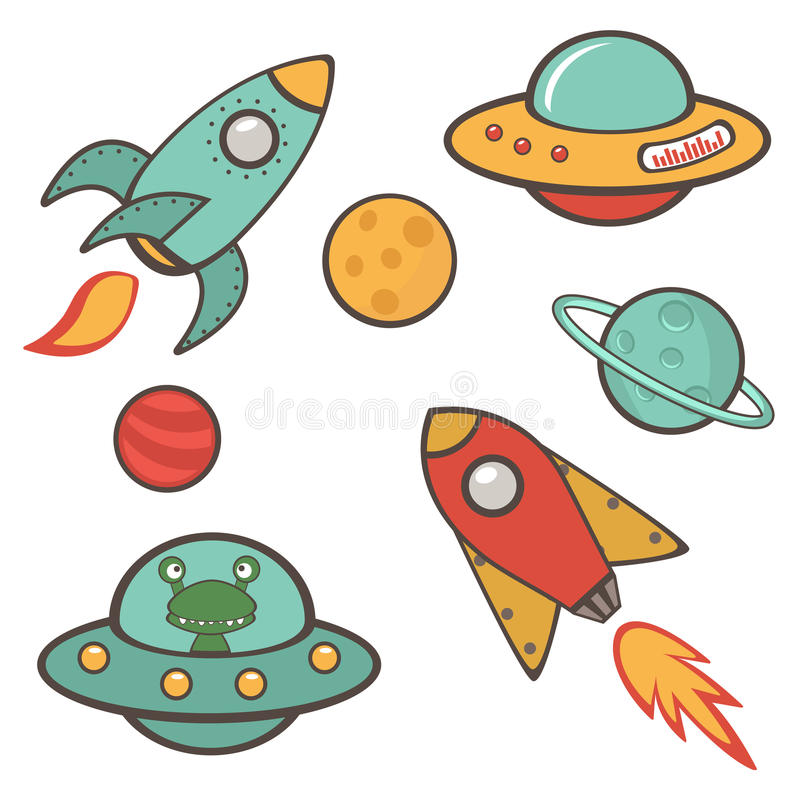Colorful outer space stickers collection royalty free illustration