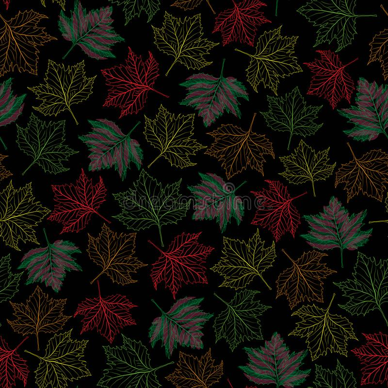 Colorful outlined maple fall leaves on black background seamless repeat pattern. Vector illustration. colorful outlined maple fall leaves on black background vector illustration