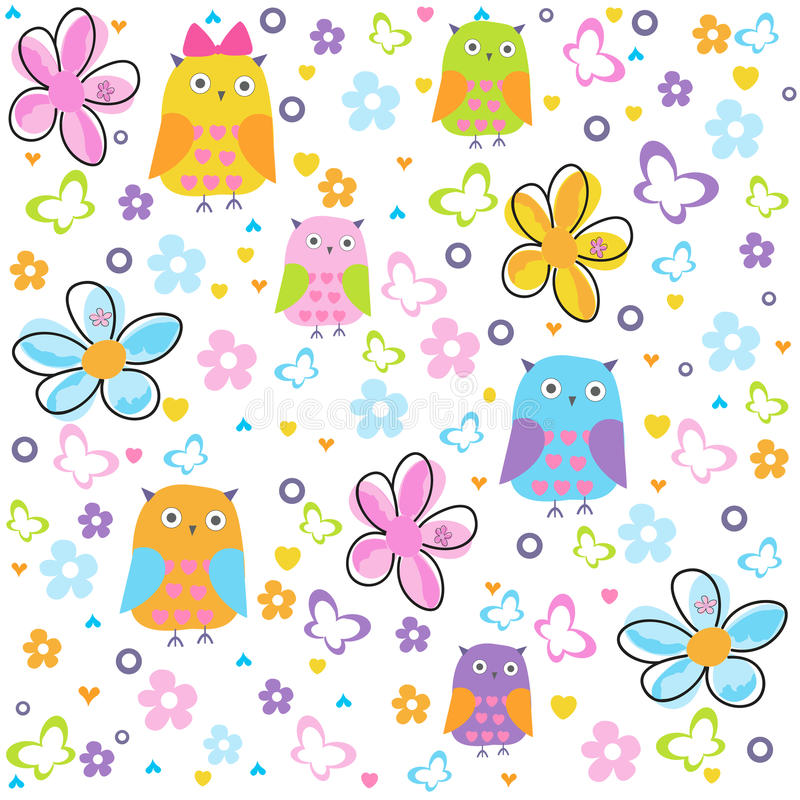 Colorful owl, butterflies and flowers vector pattern illustration. Background stock illustration