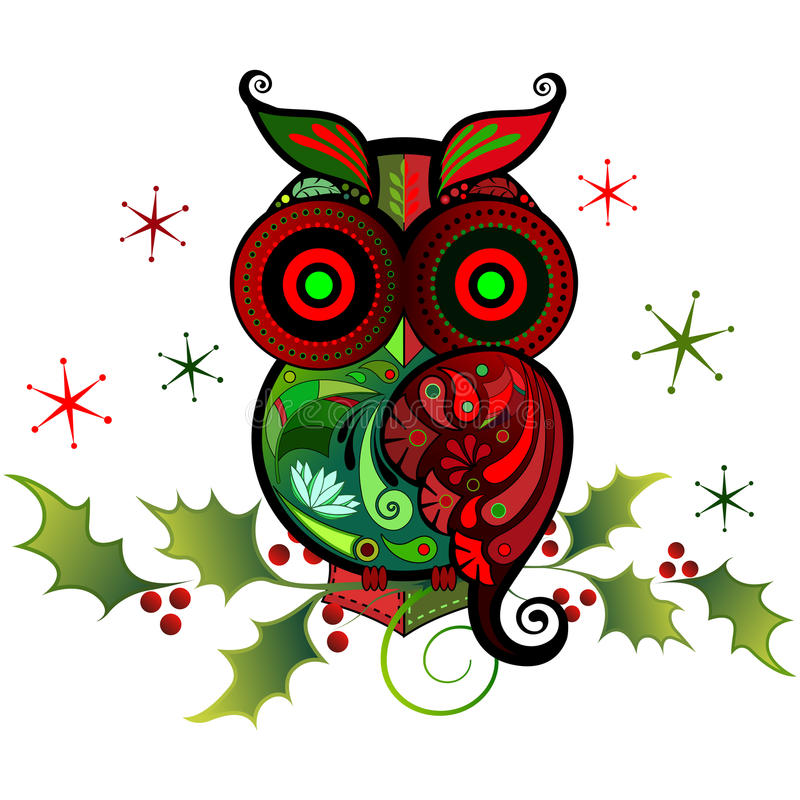 A Colorful Owl Charm royalty free illustration