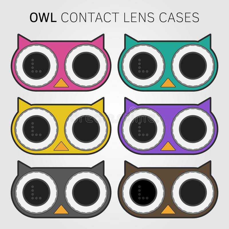 Colorful owl contact lens cases royalty free stock image