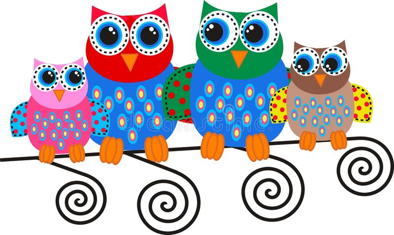 Download Colorful owl family stock vector. Image of abstract, design - 26066873