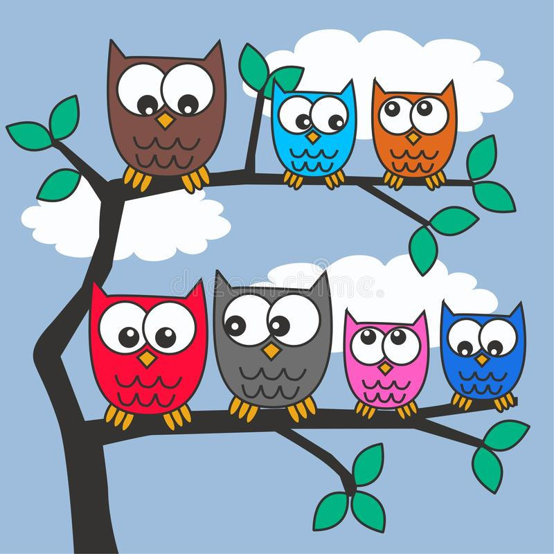 Download Colorful owls stock vector. Image of images, abstract - 22276824