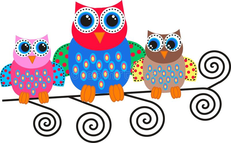Download Colorful owls stock vector. Image of drawing, bird, colors - 24880869