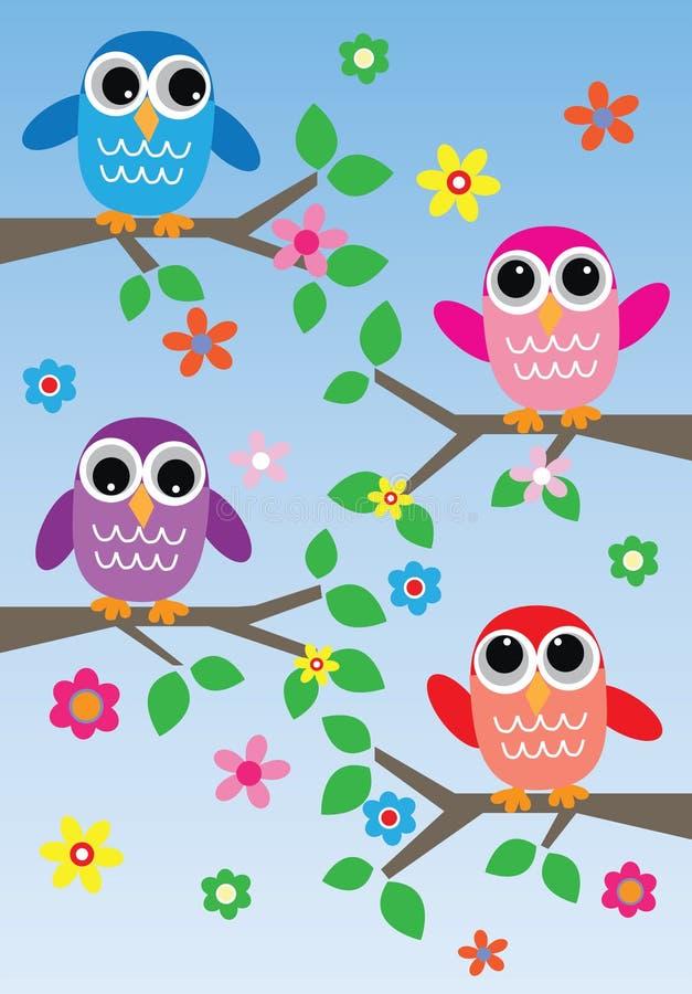 Colorful owls blue background vector illustration