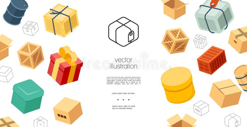 Colorful Packaging Elements Concept. With cardboard gift wooden boxes cask and barrel for oil vector illustration vector illustration