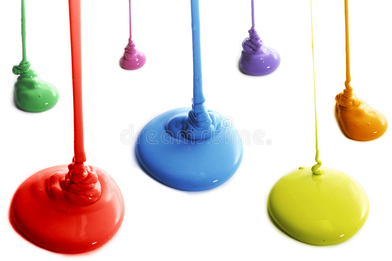 Colorful paint. Several colors of paint pouring stock images
