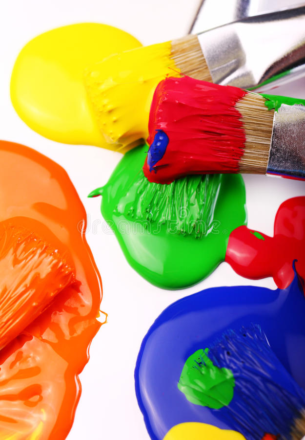 Download Colorful paint and brushes stock image. Image of equipment - 24803031