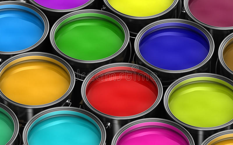 Colorful paint buckets stock illustration