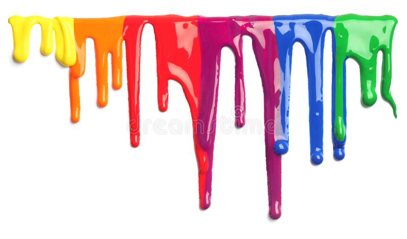 Colorful paint dripping isolated royalty free stock images