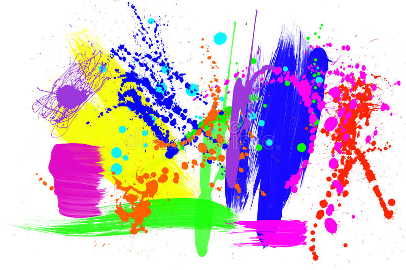 Colorful paint grunge. An abstract montage of various paint patterns including brush strokes, drips and spatters. Very colorful image for use with any color stock illustration