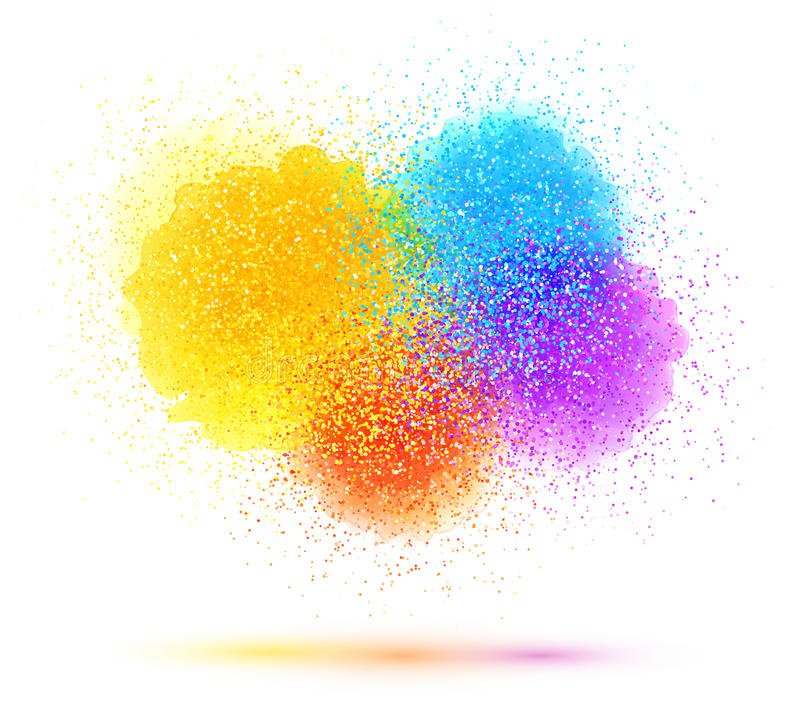 Colorful paint splash and powder cloud on white background royalty free illustration