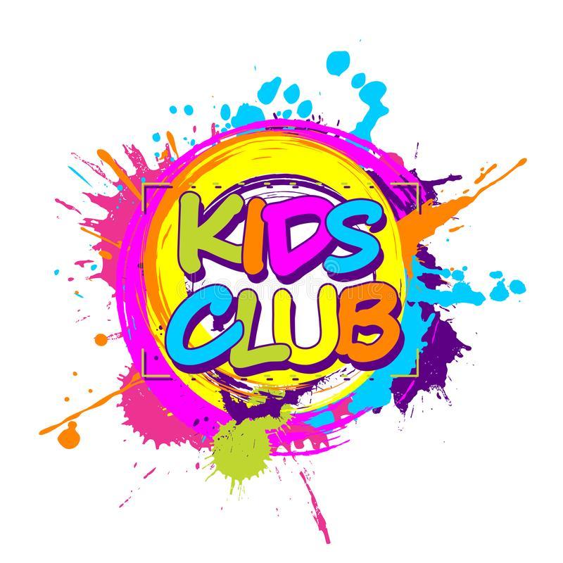 Colorful paint splashes with circular Kids Club emblem for children playground for play and fun vector illustration