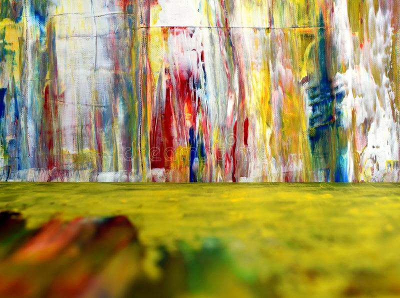 Colorful paint splashes. Disordered pigment spots. The foreground is unclear. Bright colorful background. royalty free stock photos